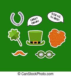 St. Patricks Day sticker set. Red beard, whiskers, shamrock, leprechaun hat, horseshoe, speech bubbles with quotes. Lucky charm. Kiss me, I'm Irish. Vector