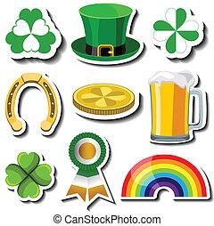 St Patricks day sticker set with symbols