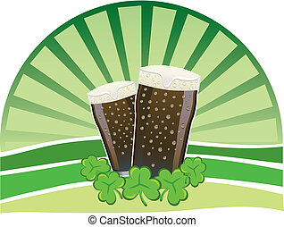 St. Patrick\'s Day - Stout beers with shamrocks - Two pints...