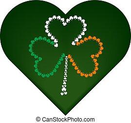 St. Patrick's day symbol, green heart with irish flag attributes