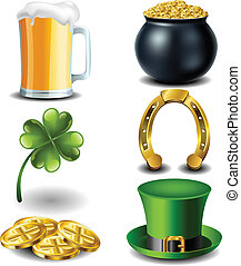 St Patricks day symbol set with gold, cauldron, hat and beer...