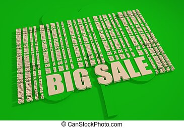 St. Patrick's Day text bar code. Big sale text.