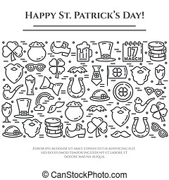 St. Patrick's Day theme black and white banner. Pictograms of shamrock, leprechaun hat, gold and other holiday related pictograms. Line out. Simple silhouette. Editable stroke. Vector illustration