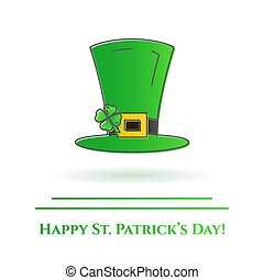 St. Patrick's Day theme colorful line banner. Green leprechaun hat with shamrock leaf. Holiday related pictograms. Lineout. Simple silhouette. Editable stroke. Vector illustration