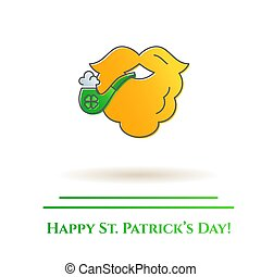 St. Patrick's Day theme colorful line banner. Orange leprechaun beard with tobacco pipe and shamrock leaf. Holiday related pictograms. Lineout. Simple silhouette. Editable stroke. Vector illustration