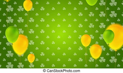 St. Patricks Day video animation with colorful balloons -...