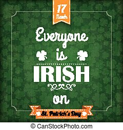 St Patricks Day Vintage Cover Everyone Irish