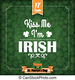 St. Patricks Day Vintage Cover Kiss Me