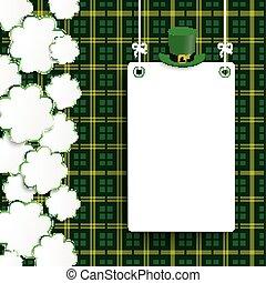 St Patricks Day Vintage Shamrocks Board Tartan