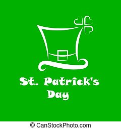 St patricks day white line with leprechaun hat