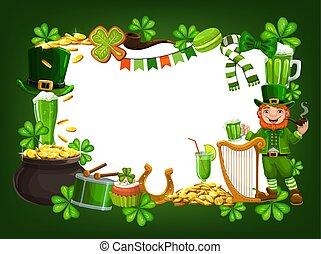 St. Patricks feast frame, symbols of Ireland