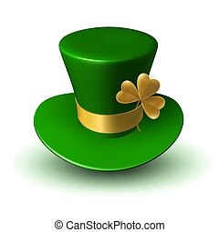 St. Patrick's Green Hat with Gold Ribbon