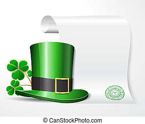 St. Patrick's hat with clover and empty scroll for your text