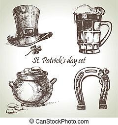 st., patrick's, illustrazioni, disegnato, mano, set., giorno
