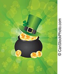 St Patricks Leprechaun Hat on Pot of Gold Background - St...