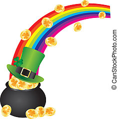 St Patricks Leprechaun Hat Rainbow on Pot of Gold - St...