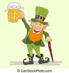 st Patricks leprechaun with beer