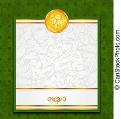 st., patrick's, moneta, giorno, scheda, celebrazione
