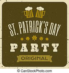 st., patrick's, tipográfico, cartão, dia