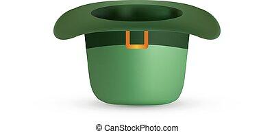 st., patrick's, vettore, verde, hat., giorno