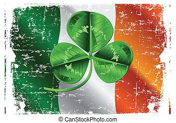 Three Leafed Clover on Irish Flag