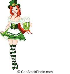 Illustration of St. Patrick%u2019s Day Irish girl serving beer