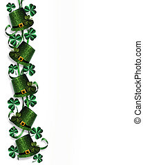 St Pattys Day Border hats shamrocks - 3D Illustration for St...