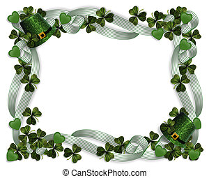 St Pattys Day Border hats shamrocks - 3D Illustration for St...