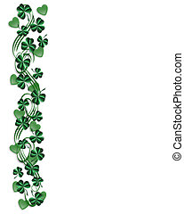St Pattys Day Border shamrocks - 3D Illustration for St...