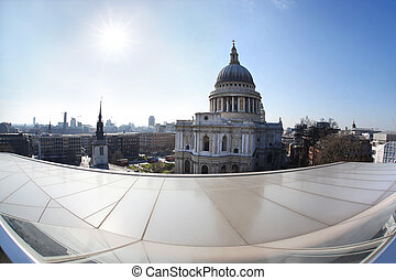 St Paul Cathedral in London against modern buildings, England