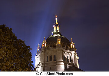 St. Paul Cathedral in St. Paul Minnesota lit up at night