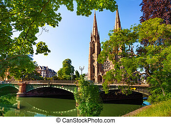 St Paul Church and Pont d'Auvergne over Ill river - ...