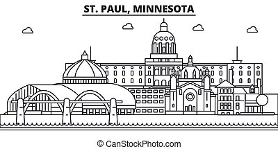 St. Paul, Minnesota architecture line skyline illustration. Linear vector cityscape with famous landmarks, city sights, design icons. Landscape wtih editable strokes