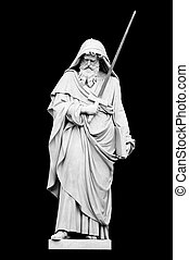 Statue of St Paul by Giuseppe Obici on a black background