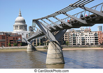 st. pauls, そして, 千年間 橋, ロンドン, イギリス