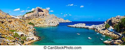 St Pauls Bay Lindos Rhodes - Panoramic shot overlooking St...