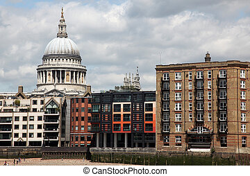 St. Paul's Cathedral and riverside of Thames in London ,UK