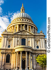 St Paul's cathedral at golden hour in London, England