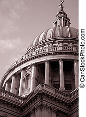 St Pauls Cathedral Church in London in sepia black and white tone