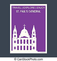 St paul's Cathedral London, UK monument landmark brochure Flat style and typography vector