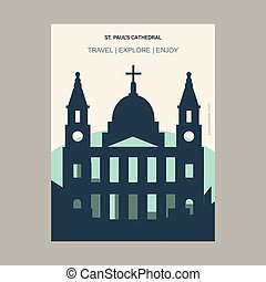 St paul's Cathedral London, UK Vintage Style Landmark Poster Template
