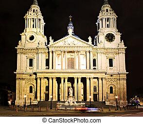 st., paul\'s, katedrála, londýn, v noci