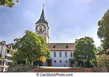 St Peter church in Zurich in summer in Switzerland