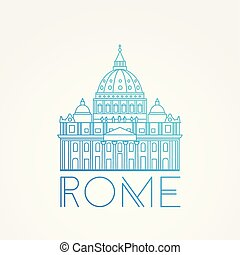 St. Peter s Cathedral, Rome, Italy. Hand drawn vector illustration isolated on white background. Saint Pietro Basilica.