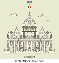 St. Peter's Basilica in Rome, Italy. Landmark icon in linear style