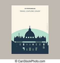 St Peter's Basilica, Italy Vintage Style Landmark Poster Template