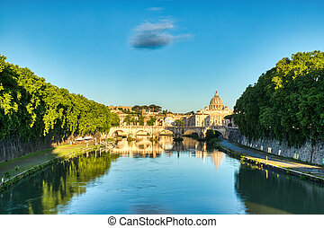 St. Peter's Cathedral in Rome at Sunset