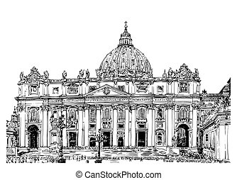 St. Peter's Cathedral, Rome, Vatican, Italy. Hand drawing...