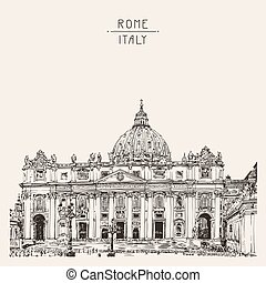 St. Peter's Cathedral, Rome, Vatican, Italy. Hand drawing