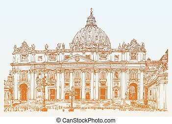 St. Peters Cathedral, Rome, Vatican, Italy. Hand drawing